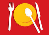 Yellow plate on red background — Stock Vector