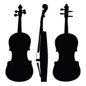 Old violin silhouette sides — Vettoriale Stock