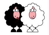 Funny black and white sheeps — Stock Vector