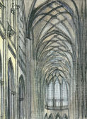 Interior of ancient gothic temple — Stock Photo
