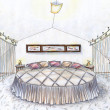 Stock Photo: Hand drawn sketch of a bedroom