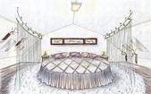 Hand gezeichnete skizze eines schlafzimmers — Stockfoto