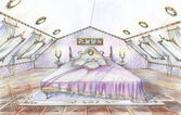 Hand drawn sketch of classic style bedroom — Stock Photo