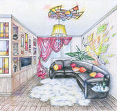 Sketch of interior of living room — Stock Photo