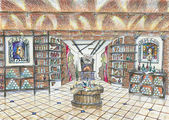 Sketch of interior of wine shop — Stock Photo