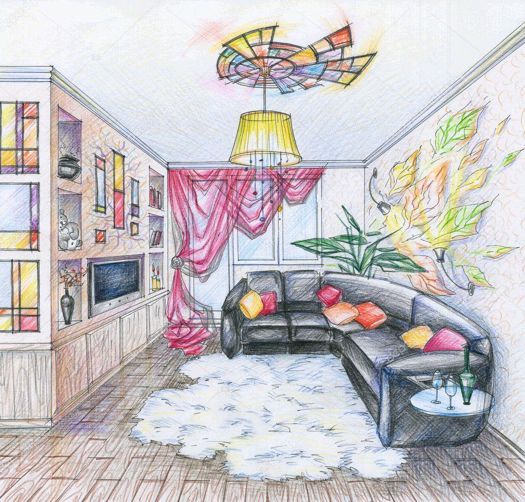 wohnzimmer zeichnung:Skizze des Inneren des Wohnzimmer — Stockfoto © alchena #4235173