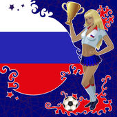 Vector football poster with girl and Russian flag — Stock Vector