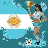 Vector football poster with girl and Argentinean flag — Stock Vector