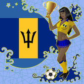 Vector football poster with girl and Barbados flag — Stock Vector