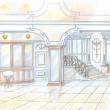 Sketch of restaurant in classic style — Stock Photo