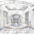 Hand drawn sketch of dining room — Stock Photo #4486886