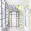 Stock Photo: Hand drawn sketch of hallway