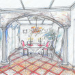 Sketch of interior of dining room — Stock Photo