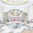Sketch of interior of drawing room — Stock Photo