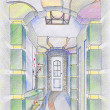 Sketch of interior of hallway — Stock Photo