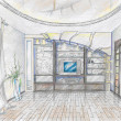 Sketch of interior of sitting-room — Stock Photo