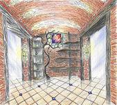 Hand drawn interior of wineshop — Stock fotografie