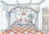 Sketch of interior of dining room — Stok fotoğraf