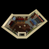 3D view on the layout of coffee house — Stock Photo