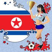 Cartel futbol vector con chica y la bandera de corea del norte — Vector de stock