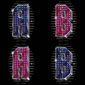 Vector volume letters A,B with shiny rhinestones — Vetorial Stock