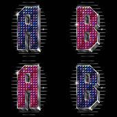 Vector letras de volume, b com strass brilhantes — Vetorial Stock
