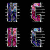 Vector volume letters G,H with shiny rhinestones — Vetorial Stock