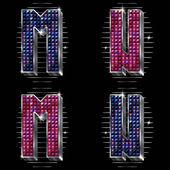 Vector volume letras m, n, com pedrinhas brilhantes — Vetorial Stock