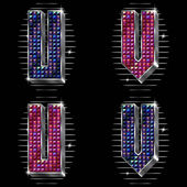 Vector volume letters U,V with shiny rhinestones — Vetorial Stock