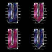 Vector volume letras u, v com strass brilhantes — Vetorial Stock