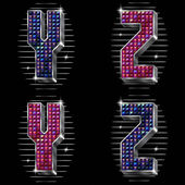 Vector volume letters Y,Z with shiny rhinestones — Vetorial Stock