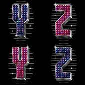 Vector volume letras y, z com strass brilhantes — Vetorial Stock