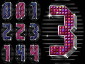 Vector volume figuras 0,1,2,3,4 com strass brilhantes — Vetorial Stock