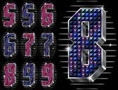 Vector volume figuras 5,6,7,8,9 com strass brilhantes — Vetorial Stock