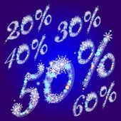 Vector winter sale percents with snowflakes — Stock Vector