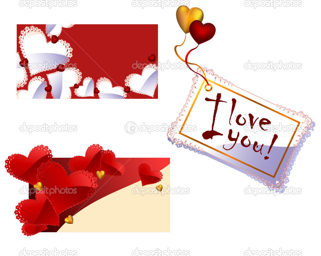 Three Vector Valentine's Day or Wedding greeting cards with a lace openwork details with red,gold and white hearts — Stock Vector #4653611