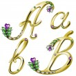 Vector gold alphabet with diamonds and gems letters A, B — Vector de stock #4878269