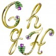 Vector de stock : Vector gold alphabet with diamonds and gems letters G, H