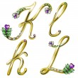 Vector gold alphabet with diamonds and gems letters K, L — Stok Vektör #4878306