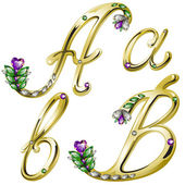 Vector gold alphabet with diamonds and gems letters A, B — Vecteur