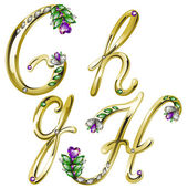 Vector gold alphabet with diamonds and gems letters G, H — Stock vektor