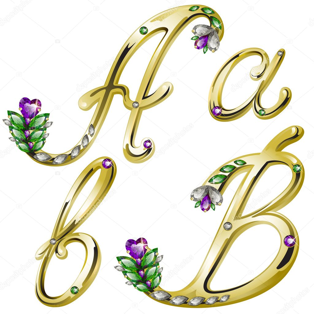 Vector volume shiny gold alphabet with floral details from diamonds and gems, letters A, B  Stock Vector #4878269