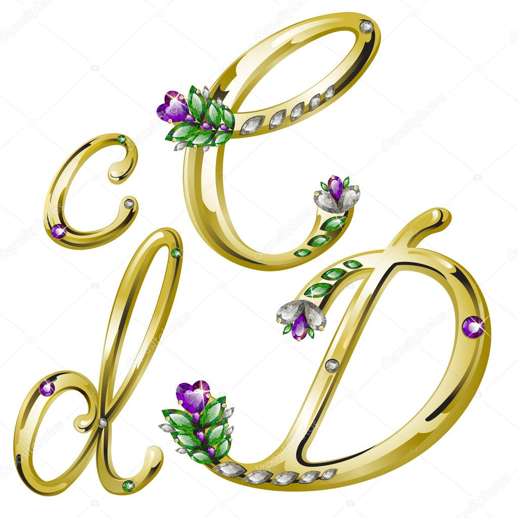 Vector volume shiny gold alphabet with floral details from diamonds and gems, letters C, D — Stock Vector #4878276