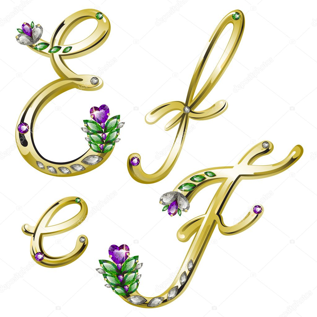 Vector volume shiny gold alphabet with floral details from diamonds and gems, letters E, F — Stock Vector #4878281