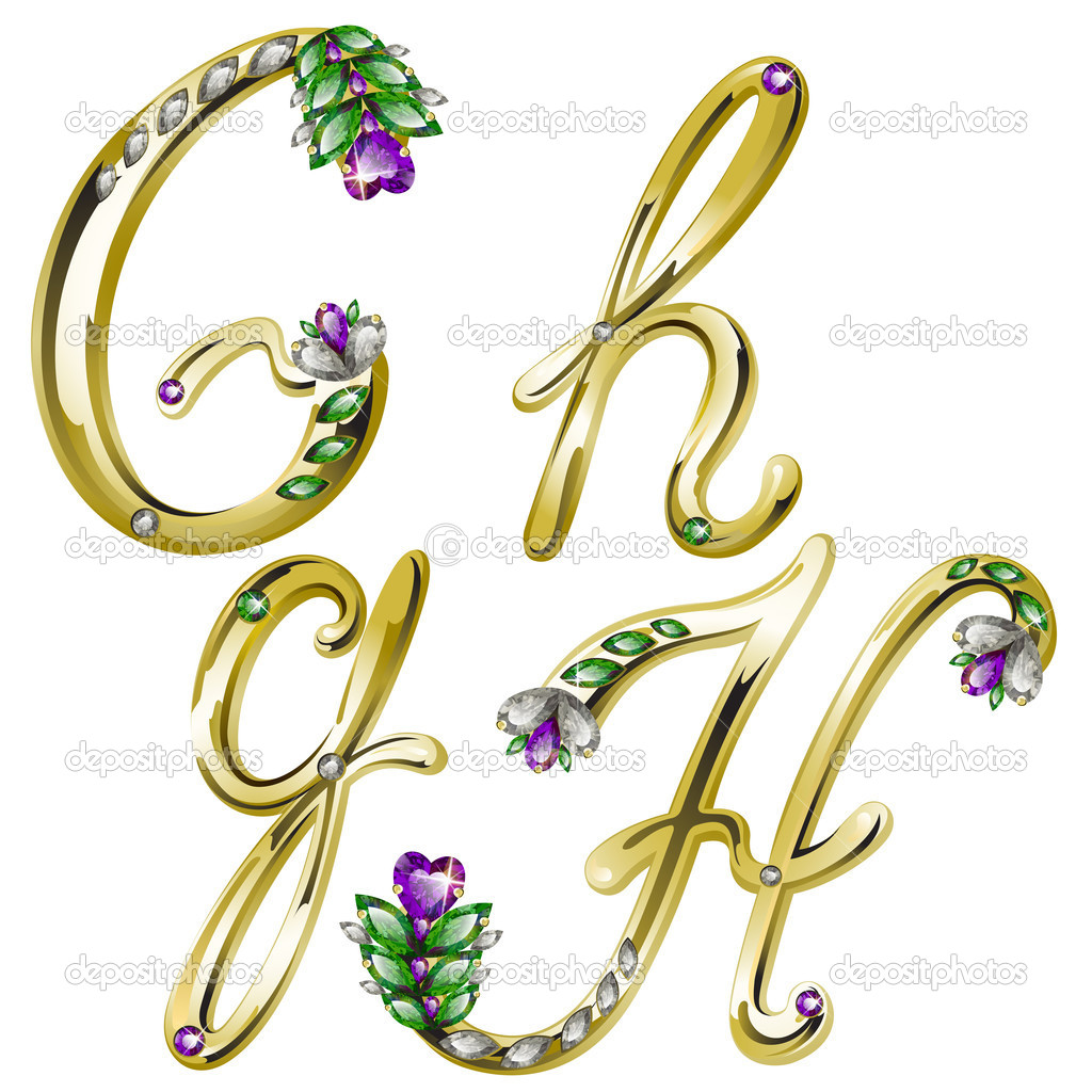 Vector volume shiny gold alphabet with floral details from diamonds and gems, letters G, H — Stock Vector #4878290