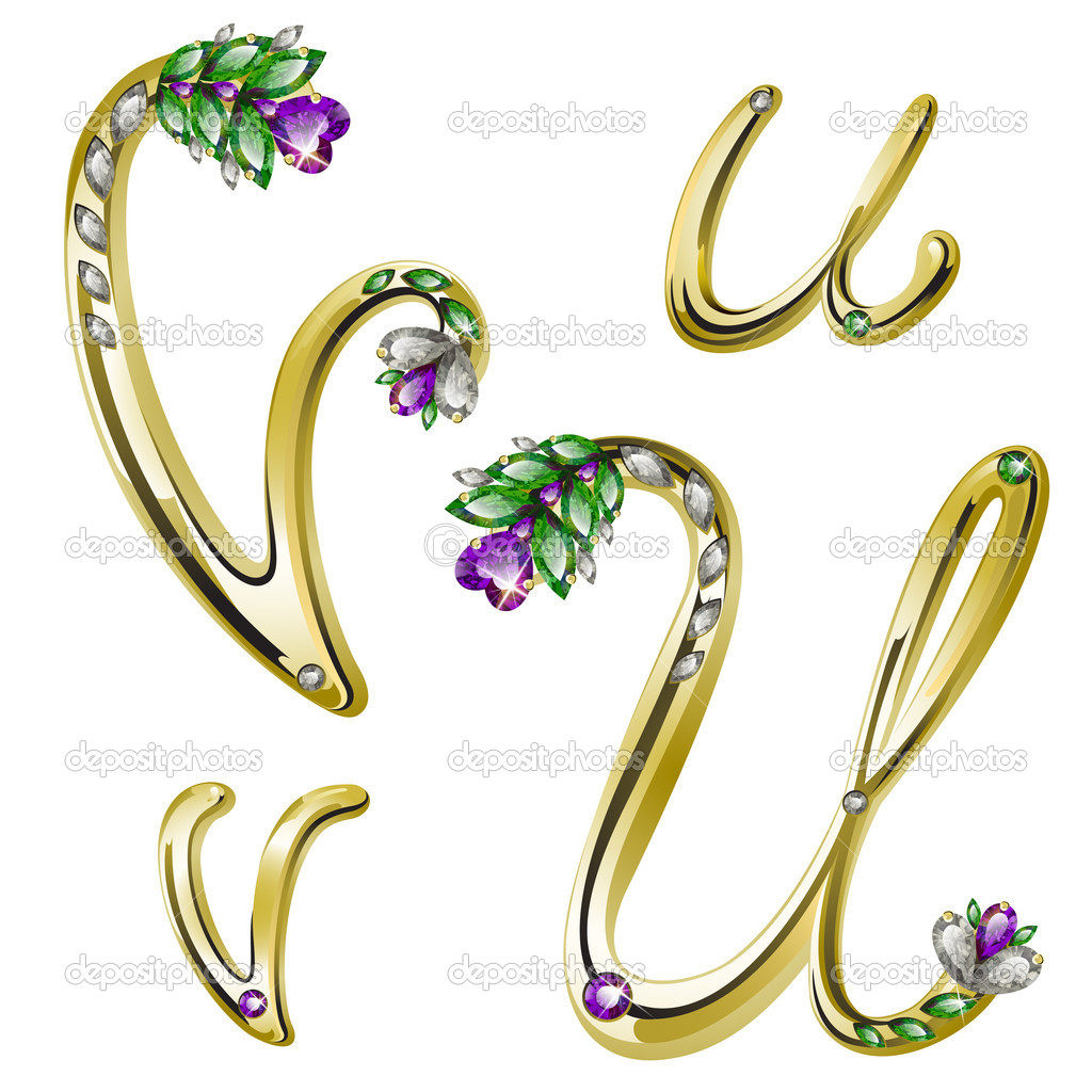 Vector volume shiny gold alphabet with floral details from diamonds and gems, letters U, V — Stock Vector #4878393