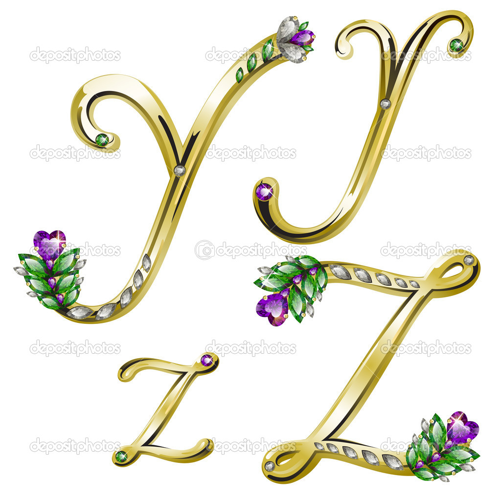 Vector volume shiny gold alphabet with floral details from diamonds and gems, letters Y, Z — Stock Vector #4878418