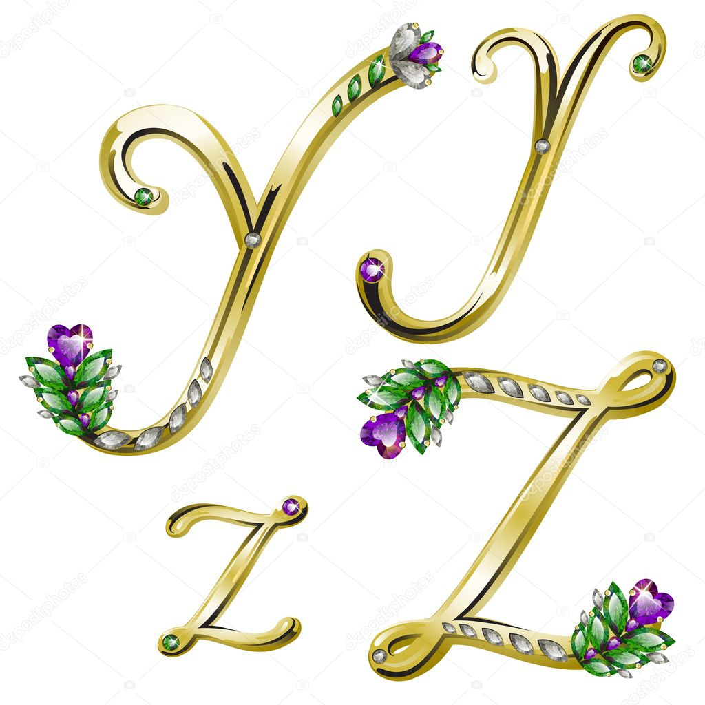 Golden Alphabet Diamonds Letters Z Vector Stock Vector