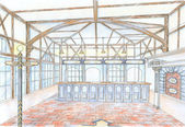 Sketch of hall of common building — Stock Photo
