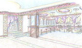 Sketch of restaurant hall with bar — Stockfoto